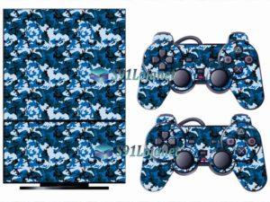 Skin Ps2 Playstation 2 Original Adesivo Camuflado Azul