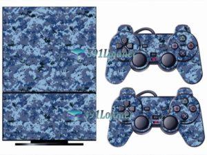 Skin Ps2 Playstation 2 Original Adesivo Camuflado Azul Digi