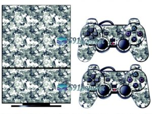 Skin Ps2 Playstation 2 Original Adesivo Camuflado Cinza