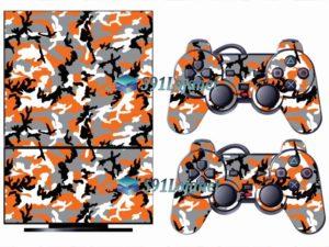Skin Ps2 Playstation 2 Original Adesivo Camuflado Laranja