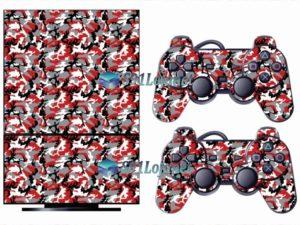 Skin Ps2 Playstation 2 Original Adesivo Camuflado Vermelho V