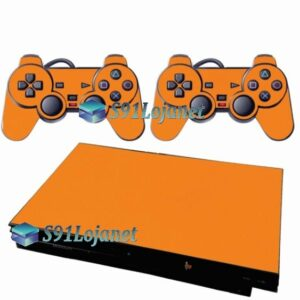 Skin Ps2 Slim Playstation 2 Adesivo Brilho Laranja