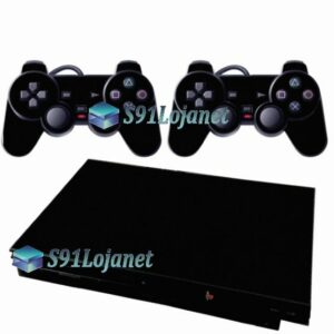 Skin Ps2 Slim Playstation 2 Adesivo Brilho Preto