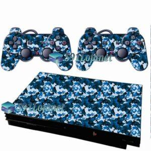 Skin Ps2 Slim Playstation 2 Adesivo Camuflado  Azul