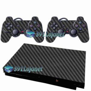 Skin Ps2 Slim Playstation 2 Adesivo Carbono Preto