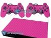 Skin Ps2 Slim Playstation 2 Adesivo Carbono Rosa