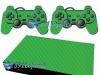Skin Ps2 Slim Playstation 2 Adesivo Carbono Verde