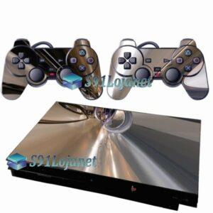 Skin Ps2 Slim Playstation 2 Adesivo Metálico Cromado