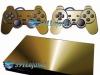 Skin Ps2 Slim Playstation 2 Adesivo Metalico Dourado