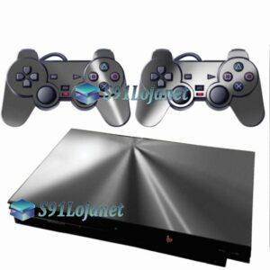 Skin Ps2 Slim Playstation 2 Adesivo Metalico Prata