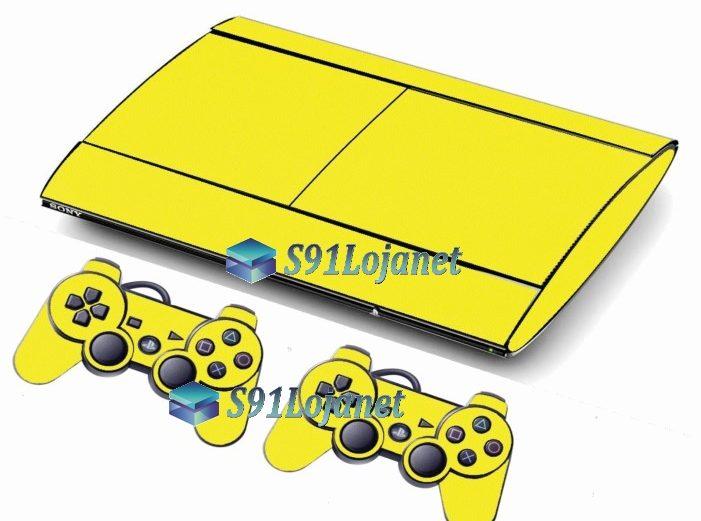 Skin Ps3 Super Slim Playstation 3 Brilho Amarelo