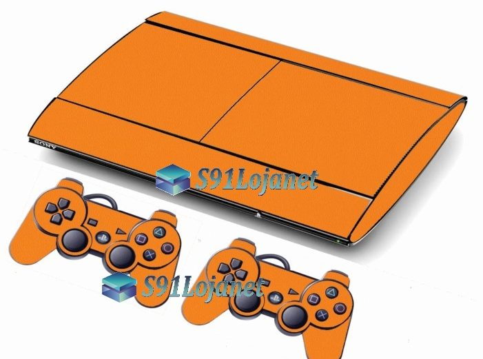 Skin Ps3 Super Slim Playstation 3 Brilho Laranja
