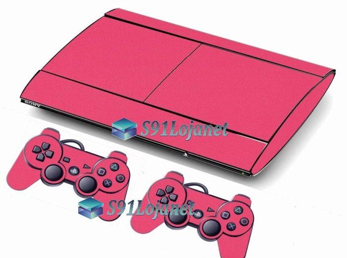 Skin Ps3 Super Slim Playstation 3 Brilho Rosa