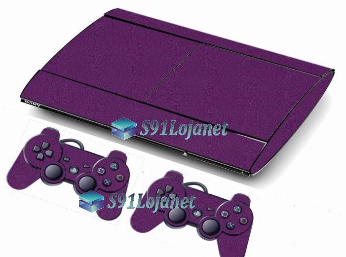Skin Ps3 Super Slim Playstation 3 Brilho Roxo