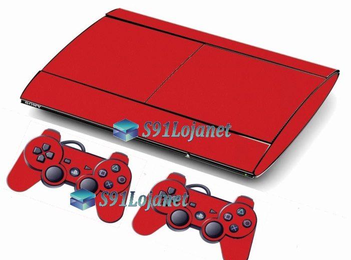Skin Ps3 Super Slim Playstation 3 Brilho Vermelho