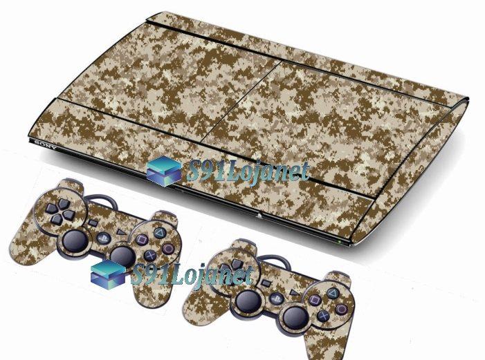 Skin Ps3 Super Slim Playstation 3 Camuflado Deserto