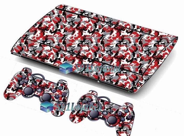Skin Ps3 Super Slim Playstation 3 Camuflado Vermelho