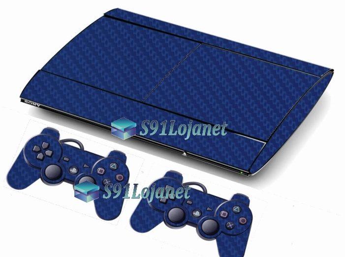 Skin Ps3 Super Slim Playstation 3 Carbono Azul
