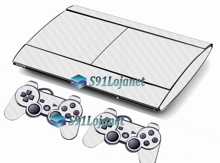 Skin Ps3 Super Slim Playstation 3 Carbono Branco