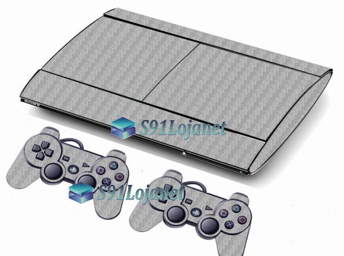 Skin Ps3 Super Slim Playstation 3 Carbono Cinza