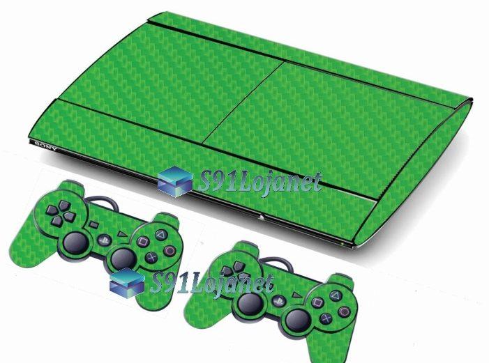 Skin Ps3 Super Slim Playstation 3 Carbono Verde