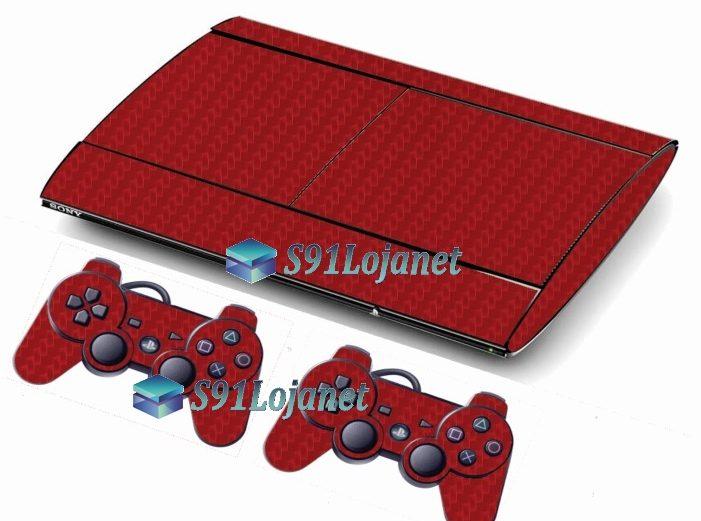 Skin Ps3 Super Slim Playstation 3 Carbono Vermelho
