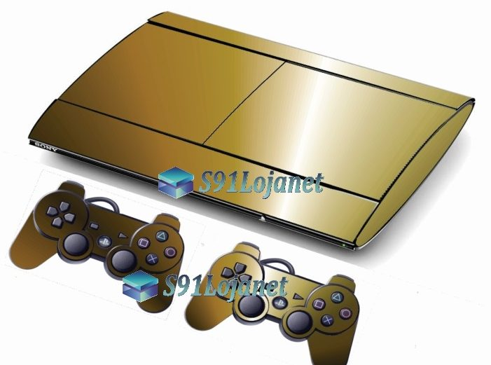 Skin Ps3 Super Slim Playstation 3  Metal Dourado