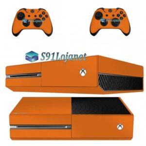 Xbox One Fat Skin Adesivo Vinil Brilho Laranja