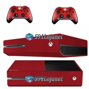 Xbox One Fat Skin Adesivo Vinil Carbono Vermelho