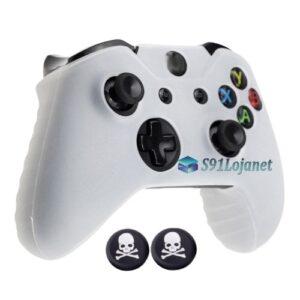 Capa Case Skin Xbox One X Microsoft Branco + Grip Skull