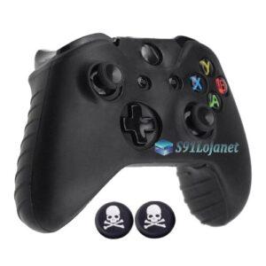 Capa Case Skin Xbox One X Microsoft Preto + Grip Skull