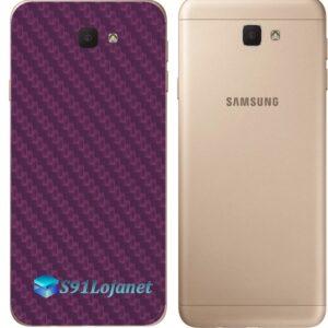 Galaxy J5 Prime Adesivo Skin Traseiro Carbono Roxo