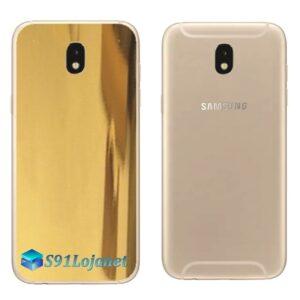 Galaxy J5 Pro Adesivo Skin Traseiro Metal Gold Ouro Cromo