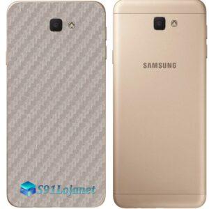 Galaxy J7 Prime Adesivo Skin Traseiro Carbono Cinza