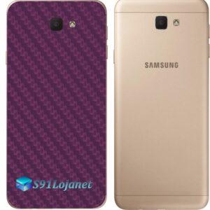 Galaxy J7 Prime Adesivo Skin Traseiro Carbono Roxo