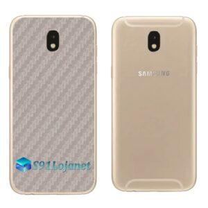 Galaxy J7 Pro Adesivo Skin Traseiro Carbono Cinza