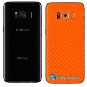 Galaxy S8 Plus Adesivo Skin Carbono Laranja