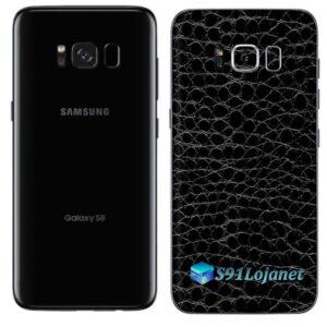 Galaxy S8 Plus Adesivo Skin Couro Negro Preto