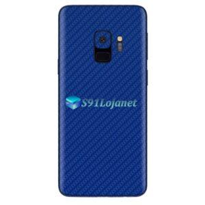 Galaxy S9 Plus Adesivo Skin Carbono Azul