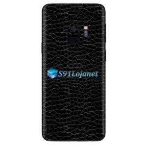 Galaxy S9 Plus Adesivo Skin Couro Negro Preto