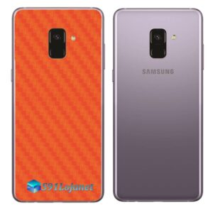 Samsung Galaxy A8 Adesivo Skin Carbono Laranja
