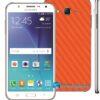 Samsung Galaxy J7 Adesivo Skin Carbono Laranja