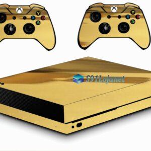 Xbox One X Skin Adesivo Metálico Gold Ouro