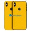 iPhone X Adesivo Skin Carbono Amarelo
