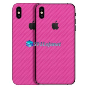 iPhone X Adesivo Skin Carbono Rosa Pink