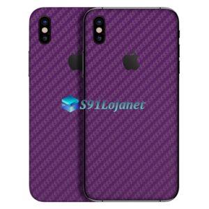 iPhone XS Adesivo Skin Carbono Roxo