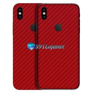 iPhone XS Adesivo Skin Carbono Vermelho