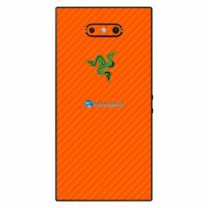 Razer Phone 2 Adesivo Traseiro Película Skin Carbono Laranja
