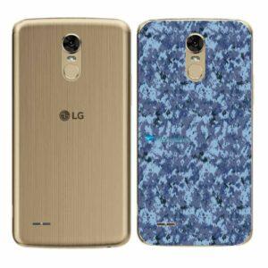 LG K10 Pro Adesivo Traseiro Película Camo Azul Pixel