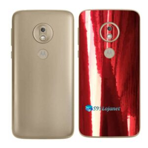 Moto G7 Play Adesivo Traseiro Película Metal Gold Red